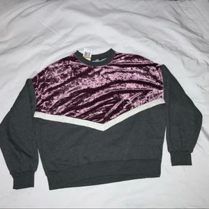 Freshman Junior's Sweatshirt Gray/Purple Velvet